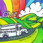 stylized rainbow and colorful green hills with the bookmobile driving long and Love in the background